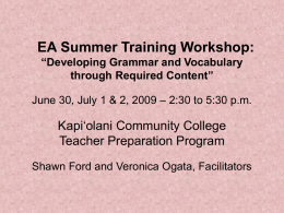 "EA Summer Training Workshop: ""Developing Grammar …"