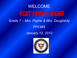 Welcome to FCAT Family Night