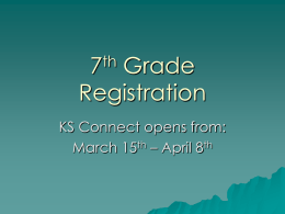 7th Grade Registration