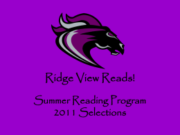 Ridge View Reads 2011 - Richland County School District …