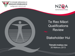 Māori Qualifications Services Presentation to The Māori