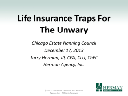 Life Insurance Traps for the Unwary.Larry Herman.121713