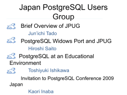 Japan PostgreSQL Users Group
