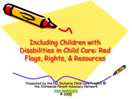 New Jersey Inclusive Child Care Project The New Jersey