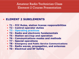 Amateur Radio Technician Class Element 2 Course …