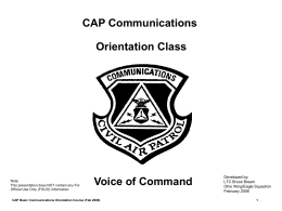 CAP Communications Orientation Class
