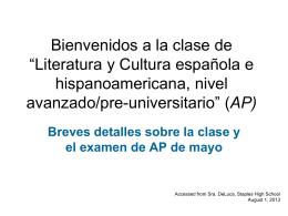 Bienvenidos a la clase AP Spanish Literature and culture