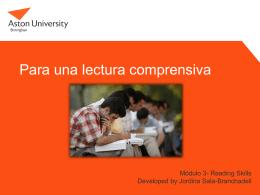 Lectura comprensiva - Aston University