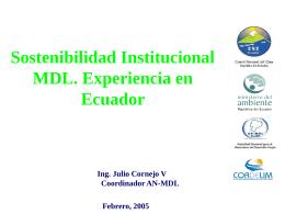 Sostenibilidad Institucional MDL: Experiencia en Ecuador