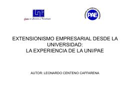 EXTENSIONISMO EMPRESARIAL DESDE LA UNIVERSIDAD: …