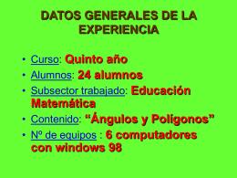 DATOS GENERALES DE LA EXPERIENCIA