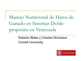 Nutritional Management of Venezuelan Dual