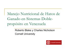 Nutritional Management of Venezuelan Dual