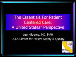 The Essentials For Patient Centered Care: A United States
