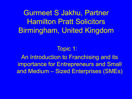 Slides Topic 1 Franchising & SMEs