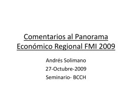 Comentarios a Regional Economic Outlook FMI 2009
