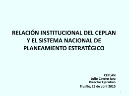 RELACIONES INSTITUCIONALES DEL CEPLAN CON EL …