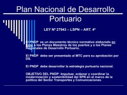Plan Nacional de Desarrollo Portuario