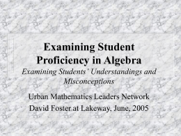 Assessing Student Proficiency in Algebra Examining