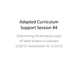 Adapted Curriculum Support Session #4