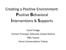 RTI for Social Behavior: Positive Behavioral Interventions
