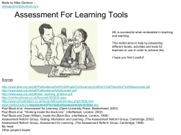 Assessment For Learning Activities