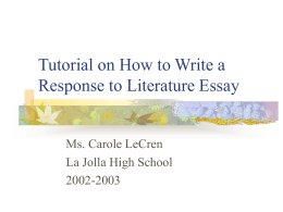 Tutorial on How to Write a Response to Literature Essay