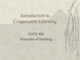 Introduction to Cooperative Learning