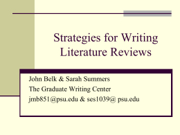 Strategies for Writing Literature Reviews