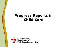 Progress Reports in Child Care