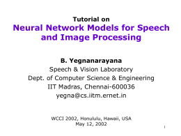 Tutorial on Neural Network Models for Speech and …