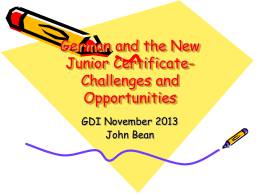 German and the New Junior Certificate