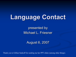 Language Contact - University of Pennsylvania