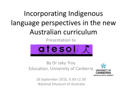 Incorporating Indigenous language perspectives in the …