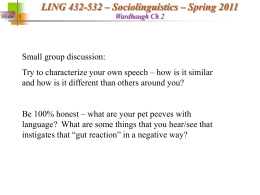 Ling 390 - Intro to Linguistics
