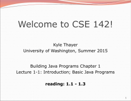 Building Java Programs - University of Washington
