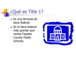 What is Title 1? - Wellington Elementary School