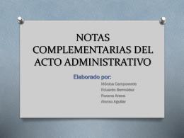 NOTAS COMPLEMENTARIAS DEL ACTO ADMINISTRATIVO
