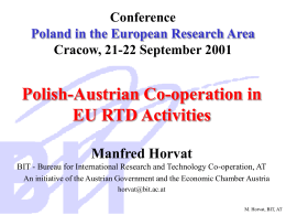 Conference Poland in the European Research Area Cracow, …