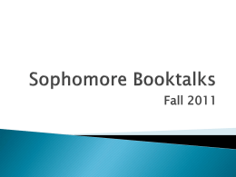 CP 2 Booktalks - Zion-Benton Township High School
