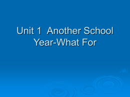 Unit 1 Another School Year