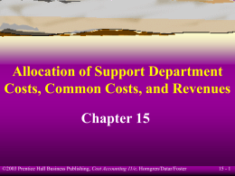 Allocation of Support Department Costs, Common …