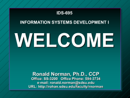 IDS-695 INFORMATION SYSTEMS DEVELOPMENT I