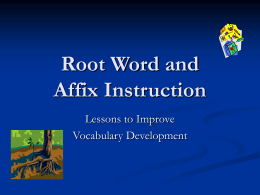 Root Word and Affix Instruction