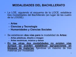 MODALIDADES DEL BACHILLERATO