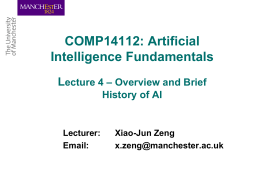 Comp10412: Artificial Intelligence Fundamentals Lecture 1