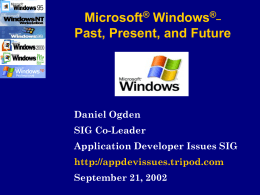 Using Windows 2000 as an Application Development …