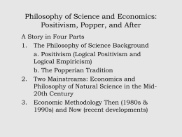Philosophy of Science and Economics: Positivism, Popper