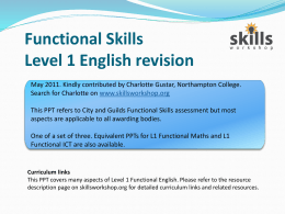 L1 Functional English revision