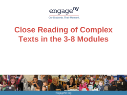 PPT Close Reading of Complex Texts in the Modules